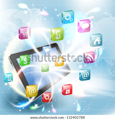 Business Concept with Tablet PC and Application icons, illustration