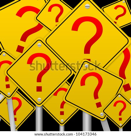 Business Concept With The Square Question Mark Road Sign isolated on Black Background