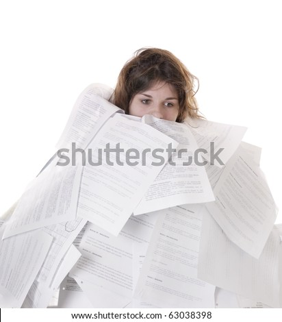 business concept:young woman drowning in papers on white background