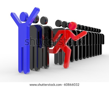 Business concepts, leadership 3d Illustration
