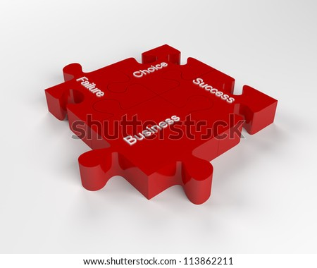 Business Concepts on Red Puzzle with clipping path