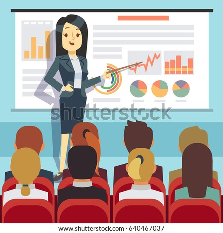 Business conference, seminar with speaker in front of audience. Business motivation concept. Businesswoman presentation lecture illustration