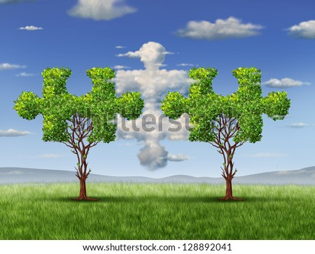 Business connections with the cloud as a network technology and business concept as  in the shape of a puzzle pieces and trees shaped as jigsaw game objects coming together as a group partnership.