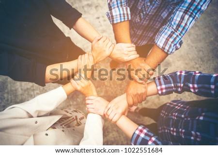 Business Cooperation concept, vintage filter image