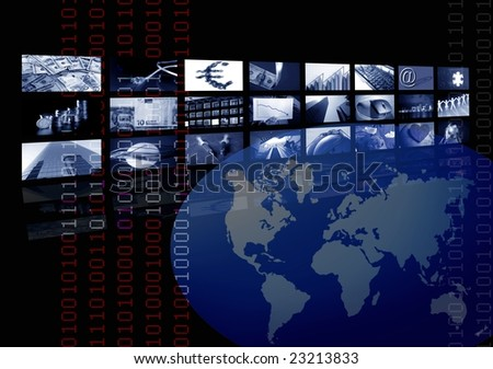 Business corporate, world map, multiple screen. Metaphor mixing photo and illustration in blue color [Photo Illustration]