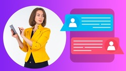 Business correspondence. Businesswoman texting using smartphone. Woman near correspondence illustration. Woman is texting through messenger. Business messenger. Apps for Business correspondence