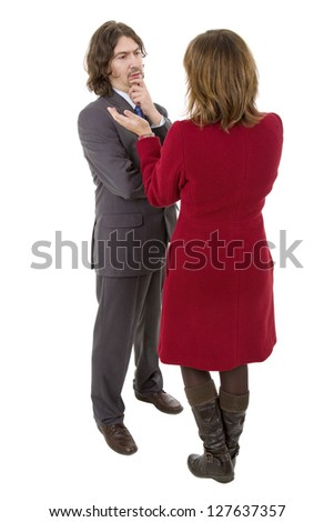 business couple talking, full length, isolated on white