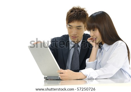 business couple with laptop over white