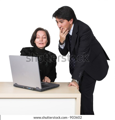 business couple with laptop over white 2