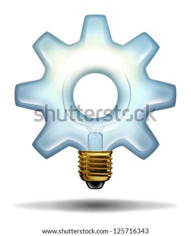 Business creativity and ideas with a lightbulb illuminated glass in the shape of a gear or cog as a concept of creative success in innovation and bright thinking on a white background,