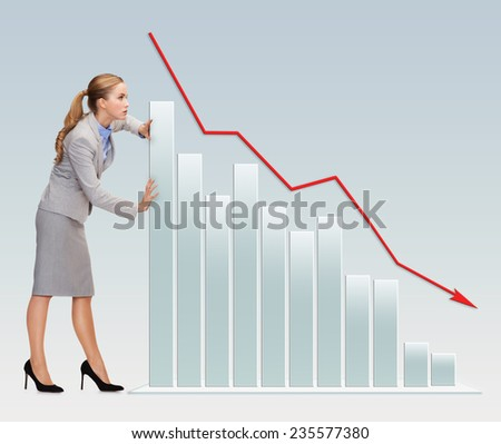 business, crisis, fail, statistics and people concept - busy businesswoman pushing graph falling down over gray background