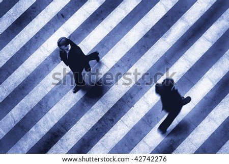 business crosswalk scene