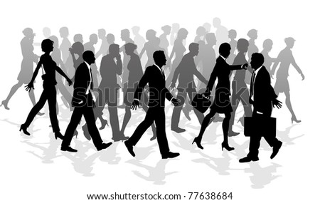 Business crowd of people walking in a rush between meetings. - stock photo