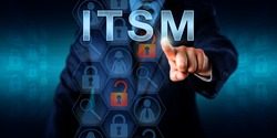 Business customer pressing ITSM onscreen. Concept for information technology service management. Unlocked lock icons refer to network incidents, magnifier symbols signify specialized software tools.
