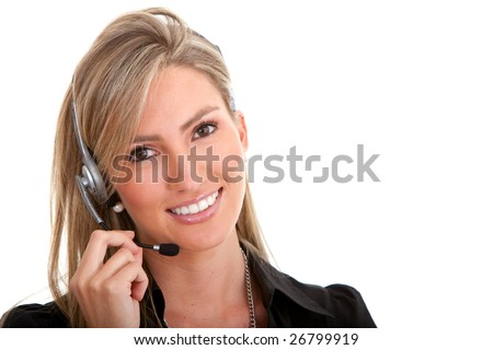 business customer support operator woman smiling isolated