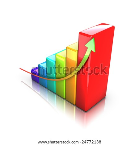 Business 3D graph with arrow showing profits and gains