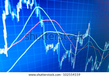 Business data diagram on computer monitor screen - stock photo