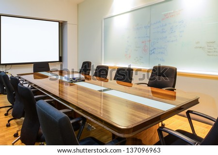 Business data information projector board in conference room, meeting room, boardroom, Classroom , Office.