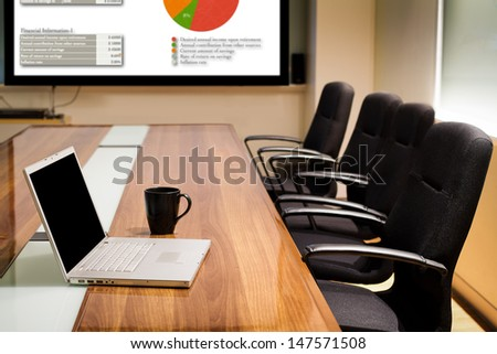 Business Data Information Projector Board In Conference Room, Meeting Room, Boardroom, Classroom, Office.