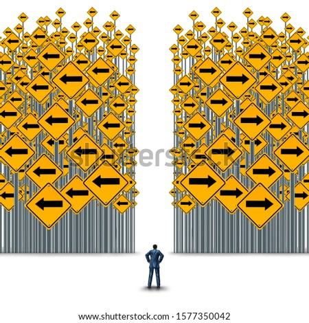 Business decisions or career path concept or corporate cross road metaphor for choosing a strategy or path with 3D illustration elements.