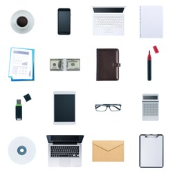 Business desktop objects isolated on white background: laptop, tablet, smartphone, calculator usb stick, paperwork and other items, top view