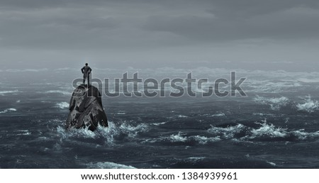 Business despair concept as a stranded businessman lost standing on an isolated rock as a corporate idea for financial crisis or being lost and career or financial help in a 3D illustration style.