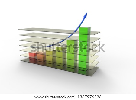 business development, 3d rendering, 3d illustration, business graph, economy, abstract financial chart