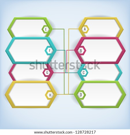 Business diagram template with text fields. Illustration.