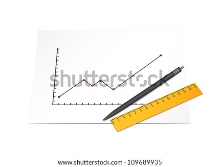 Business diagram with pen and ruler. Raster version