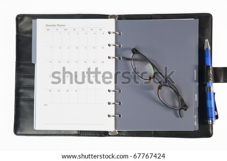 business diary with clipping path