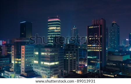 Business District of Istanbul at night