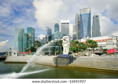 Business district skyline and Merlion, Singapore