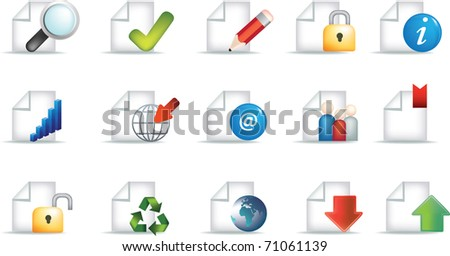 business document icon set representing workplace and communication and useful office symbols
