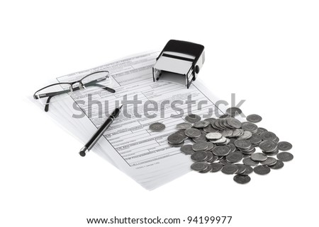 Business documents, polish coins, pen, stamp and eyeglasses. Money and savings concept on white background.