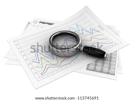 Business documents with magnifying glass over white background