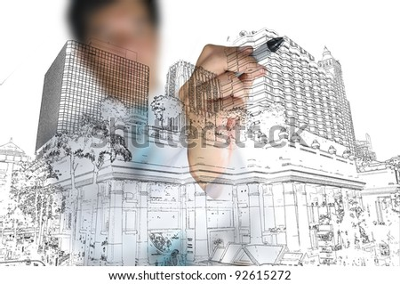 Business draw building and cityscape