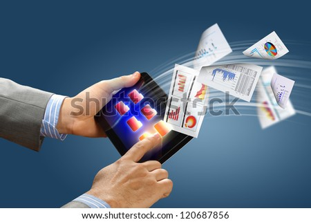 business , e-commerce concept illustration with graphs and charts from computer - stock photo
