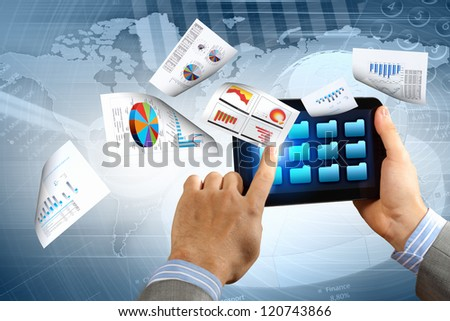 business , e-commerce concept illustration with graphs and charts from computer