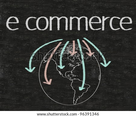 business e commerce written on blackboard with earth sign