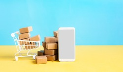 Business ecommerce or online shopping concepts with smartphone and product box order.marketplace and technology.copy space