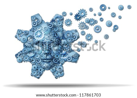 Business education and corporate training as gears and cogs shaped as a giant gear with a human face symbol spreading knowledge and teaching financial skills for career growth on a white background.