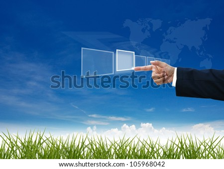 business education by business people on nature background.