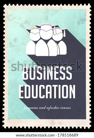 Business Education on Light Blue Background. Vintage Concept in Flat Design with Long Shadows.