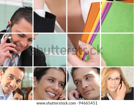 business employees at phone - stock photo