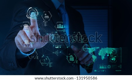 business engineer hand works industry diagram on virtual computer as concept