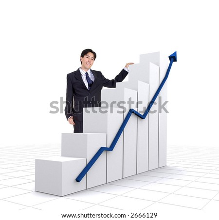 business entrepreneur with a graphics chart over a white background with a tiled floor - stock photo