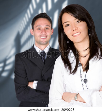 business entrepreneurs with a corporate background - focus is on the girl
