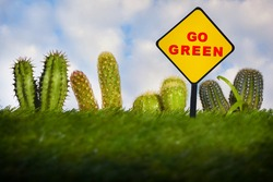 Business environmental sustainability concept and sustainable future idea. Go green written on road sign with cactus plant on green grasses background