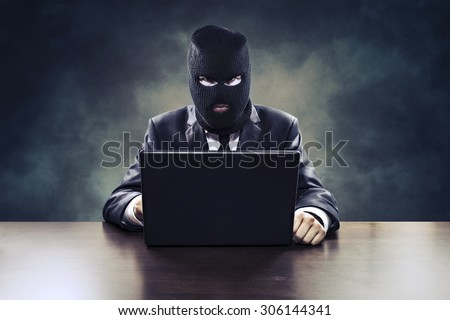 Business espionage hacker stealing corporate information or government surveillance privacy violation