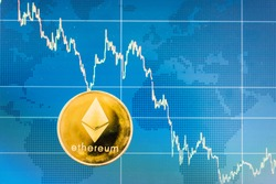 Business ethereum coin currency finance money on graph chart background